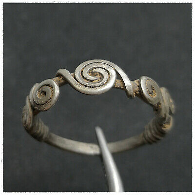 ANCIENT CELTIC SILVER COILED WIRE RING  !!!! 4,02g