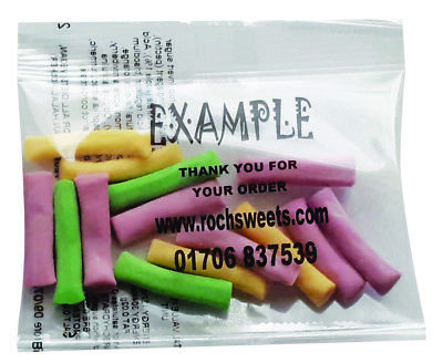 Rhubarb Custard Tubes Sweet Packs Business Personalised Promo Favour 20g Halal
