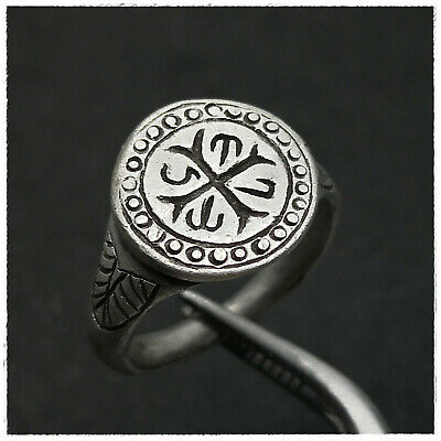 """ CROSS and MONOGRAM""  ANCIENT  SILVER BYZANTINE RING!!!! 7,36g"