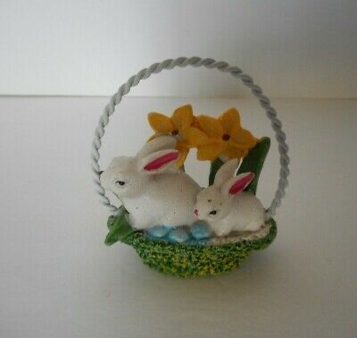 """miniature resin spring Easter basket filled with bunnies  2.75""""  figurine craft"""