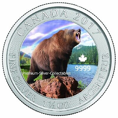 2017 Canada Grizzly Bear 1.50 Ounce Silver Colorized Series Collect The Series!