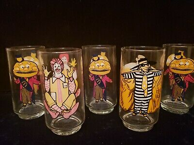5 Vintage 1970s  McDonalds Collectors Glasses