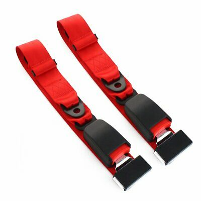 2X Fit Renault 2 Point Harness Safety Seat Belt Adjustable Red Car Universal