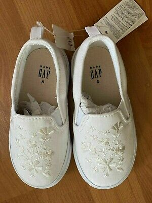 SZ 8 BABY GAP Kids White Embroidered Sneakers Sneaks Toddler Girl New NWT