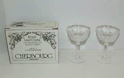 2 Crystal Champagne Sherbet Glasses WM Dalton Fully Leaded 24% French Cherbourg