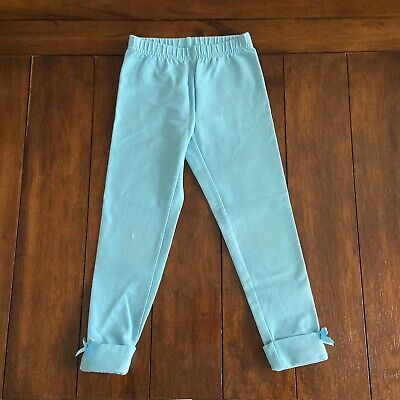 Hanna Andersson Girls Light Blue Leggings With Ankle Cuffs Bows Size 110 (US 5)