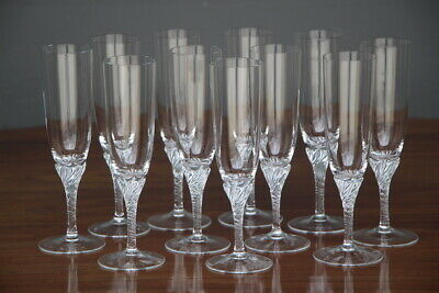Vintage set Venetian tall champagne flutes glasses hand blown bowls mid 1900's