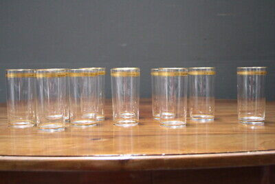 Art Deco set 11 hand blown engraved tall Collins water glasses gold engraved 30s