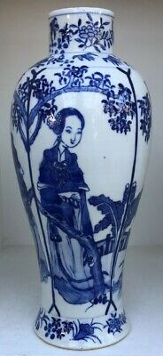 Beautiful Antique Chinese Blue & White Porcelain Vase With 4 Character Marks