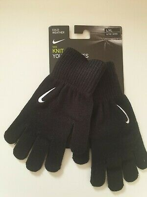 New Nike Knit Youth Junior Cold Weather Black Warm Gloves L/XL 4/5 YRS