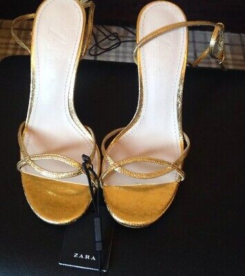 Zara Gold Strappy Sandal Shoes, Size 6/39 Bnwt Party,summer,holiday,wedding.