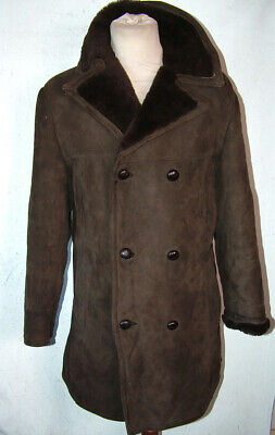 Mens Bailys Double Breasted Sheepskin Coat To 48 Fit 42inch Chest