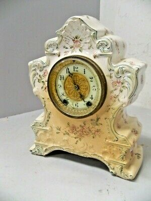 Antique Waterbury China Clock W Porc Dial