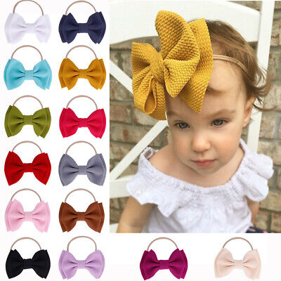 Baby Girl Children Toddler Bow Knot Hairband Headband Stretch Turban Head Wrap o