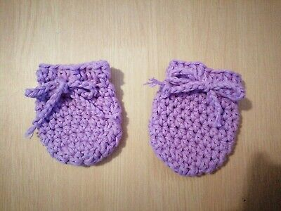 100% Cotton Handmade Crochet Newborn Scratch Mitts light purple