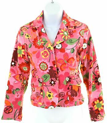 PLACE Girls Blazer Jacket 13-14 Years XL Pink Floral Cotton  BS03