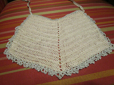 Vtg Antique blue & white Infant Child CROCHET BABY BIB Hand Made DOLL