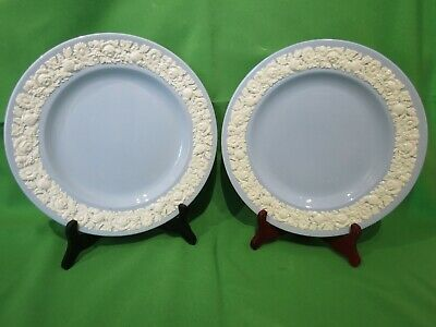 """Two Wedgwood  White On Light Blue Embossed Queensware Dinner Plates 10"""""""