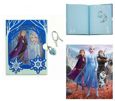 Disney Frozen 2 -  Notebook secret glitter snow Diary with lock Christmas Gift
