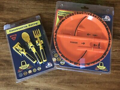 New in Package Constructive Eating Construction Tractor Plate With Utensils