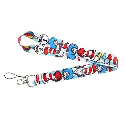 Dr. Seuss Cat in the Hat Thing 1 and 2 Lanyard Keychain Children's Book Green