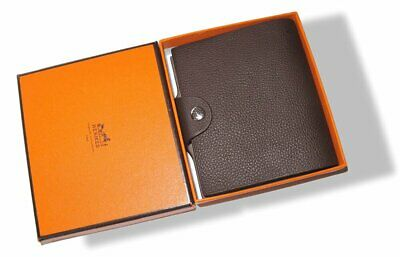 Hermes Brown Calfskin Mini Ulysse Note Book Cover with Refill , NIB!
