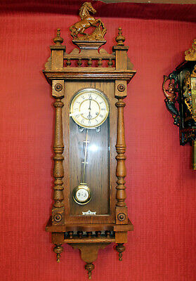 Old Wall Clock Chime Clock Regulator Big Clock in Oak Wood 100 cm *FHS*