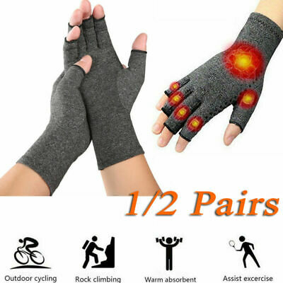 Anti Arthritis Hand Compression Gloves Copper Fingerless Therapy Circulation