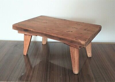 Old Heavy Antique Solid Pitch Pine Wood Farmers Stool Footstool