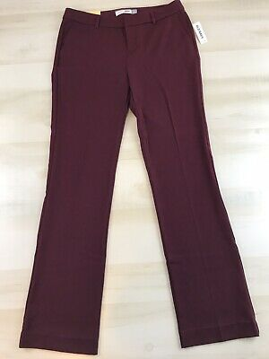 Old Navy Womens Slacks Straight MidRise Stretch Burgundy Pants Trousers Sz 6 New