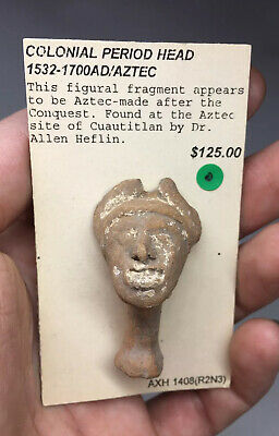 RARE Aztec Colonial Period Terracotta Pottery Head Face Fragment Artifact ART