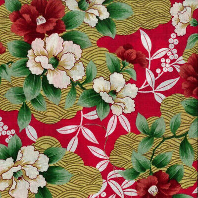 Red JAPANESE style FLORAL WAVES COTTON print fabric oriental flowers craft peony