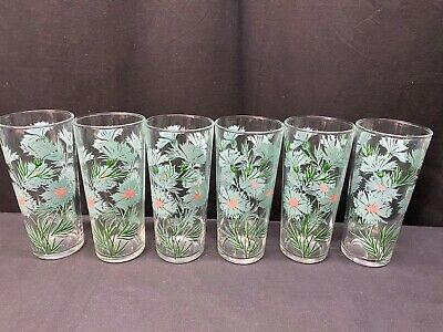 """Set of 6 ~ Mid-Century Turquoise & Pink Floral Glass Tumblers  ~ 6 1/4"""" Tall"""