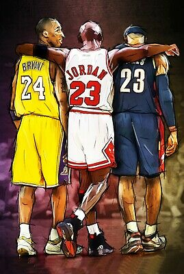 Kobe Bryant Michael Jordan LeBron James NBA Basketball Poster 61x91cm Quality