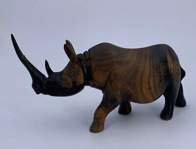 Hand Carved Wooden Rhino Figure Beautiful Piece Great Detail