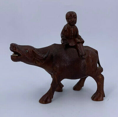 Wooden Hand Carved Chinese Boy Sat On A Water Buffalo Nice Vintage Item