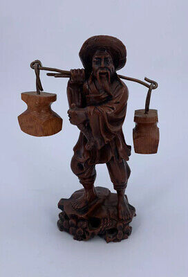 Hand Carved Wood Chinese Man Carrying Buckets Good Detailed Piece
