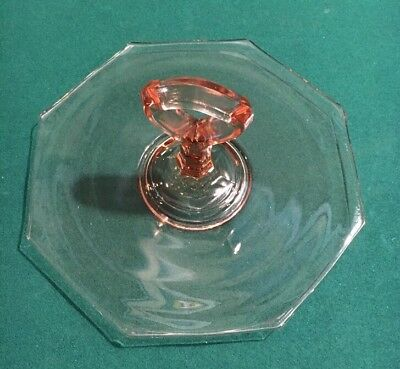 Vintage Pink Depression Glass Candy Dish Center Handle Octagon Shape 10""