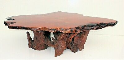 Stunning Mid Century Modern Live Edge Redwood Slab Coffee Table