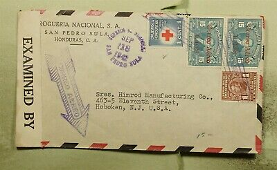 DR WHO 1942 HONDURAS OVPT PAIR AIRMAIL TO USA WWII CENSORED  f03340