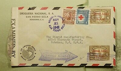 DR WHO 1942 HONDURAS OVPT AIRMAIL TO USA WWII CENSORED  f03341
