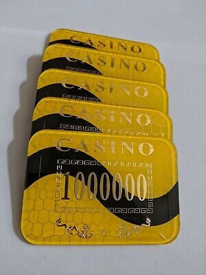 Rectangle Casino Poker Plaques Set of 5 Yellow 1 Million Denomination