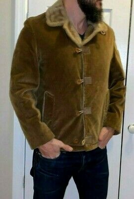 Vintage Mighty Mac Corduroy Outerwear USA Made Sherpa Lined jacket Mens Size 36