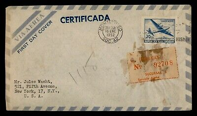 Dr Who 1952 Uruguay Montevideo To Usa Registered Air Mail C162386
