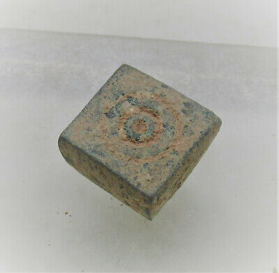 Ancient Roman Bronze Gaming Piece With Ring And Dot Motifs Astragalus