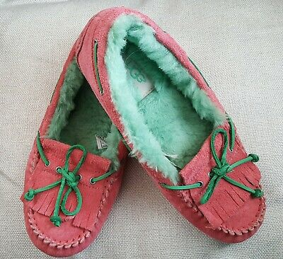 sz 6 eur 37 Ugg Dakota Slippers Moccasin in Pink and Green