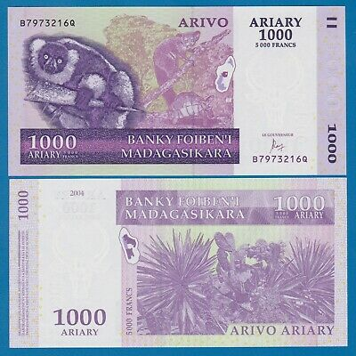 Madagascar 100 500 4 Notes 1000 Ariary P New 2017 UNC Low Shipping! 200