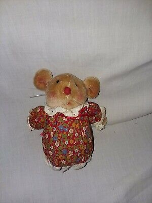 Vtg Avon Mouse Country Calico Red Floral Plush Eyelet Trim Soft Brown Mini Toy