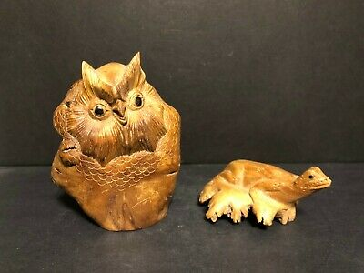 Lot Of 2 Hand Carved Folk Art Knot Burl Wood Owl Lizard/Frog Sculptures Figures!