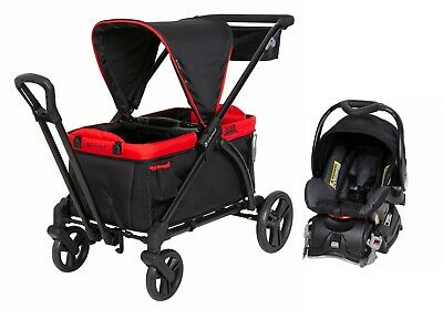 Baby Trend Stroller Wagon 2-in-1 with Infant Car Seat Red